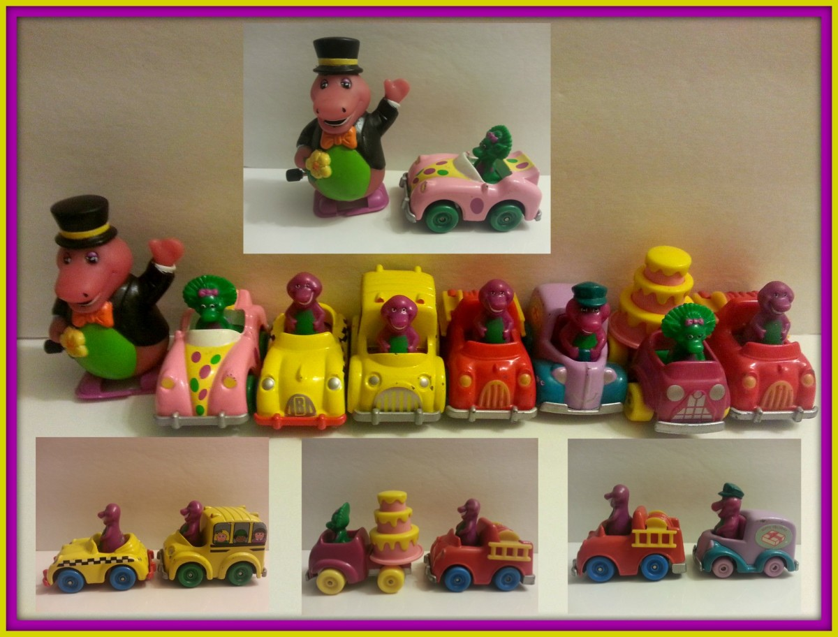 Barney, Baby Bop, and later BJ. Baby Bop's Birthday Mobile, Barney's School Bus, Barney's Firetruck, Barney's Utility Vehicle, Baby Bop's Roadster and more.