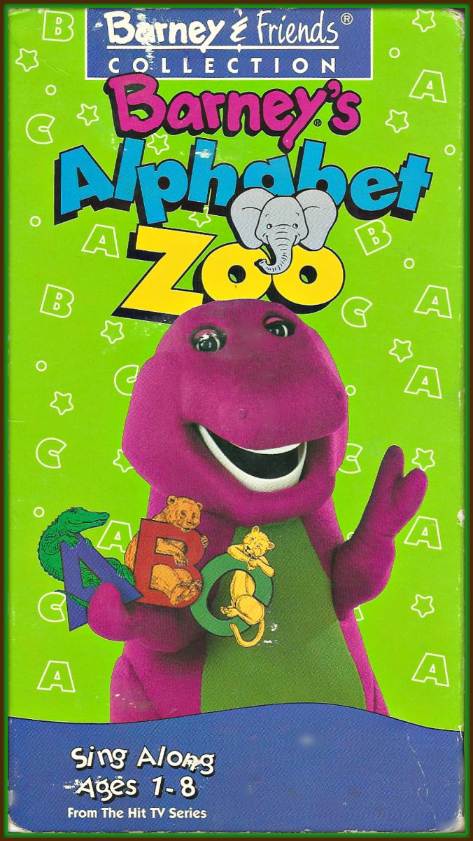 """The Alphabet Zoo"" In this video we learn that learning can be terrific fun when Barney and his classroom friends, Shawn, Julie, Tina and Derek use letters to imagine an ALPHABET ANIMAL ZOO."