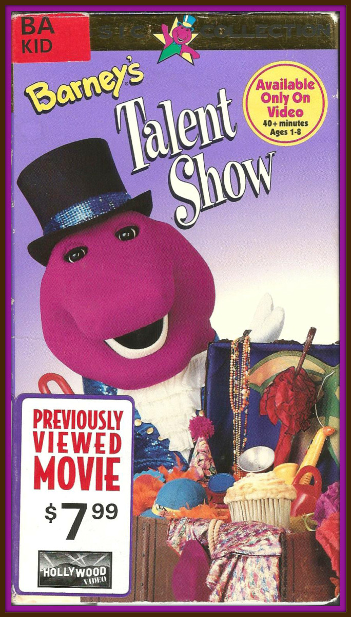 Here is a copy of Barney's Talent Show that I purchased many years ago at Hollywood Video, back during the golden age of VHS and video stores.  The video was released on March 26, 1996.