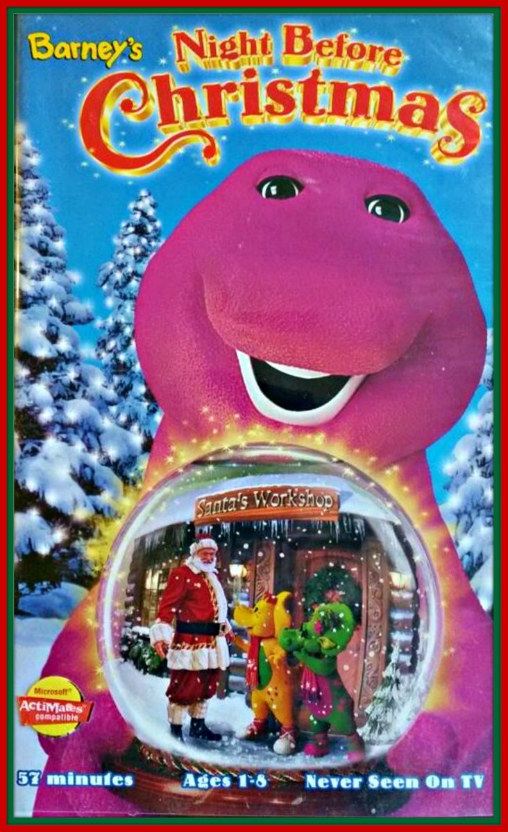 Barney's Night Before Christmas, 1999, Barney and friends take a trip to the North Pole to meet Santa ... Barney, Baby Bop, BJ and the kids take a musical journey to the North Pole where they are greeted as very special guests at Santa's Workshop.
