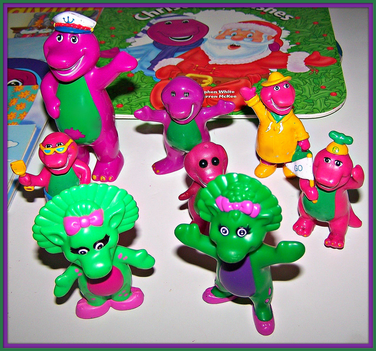 In this group of Barney figures the size ranging is from two inches  to four inches, there are six Barney and two Baby Bop. Many children in this era had huge collections proudly  displayed on their shelf's  during  this era  ...
