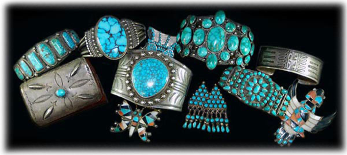 Navajo Native American silver and turquoise jewelry.
