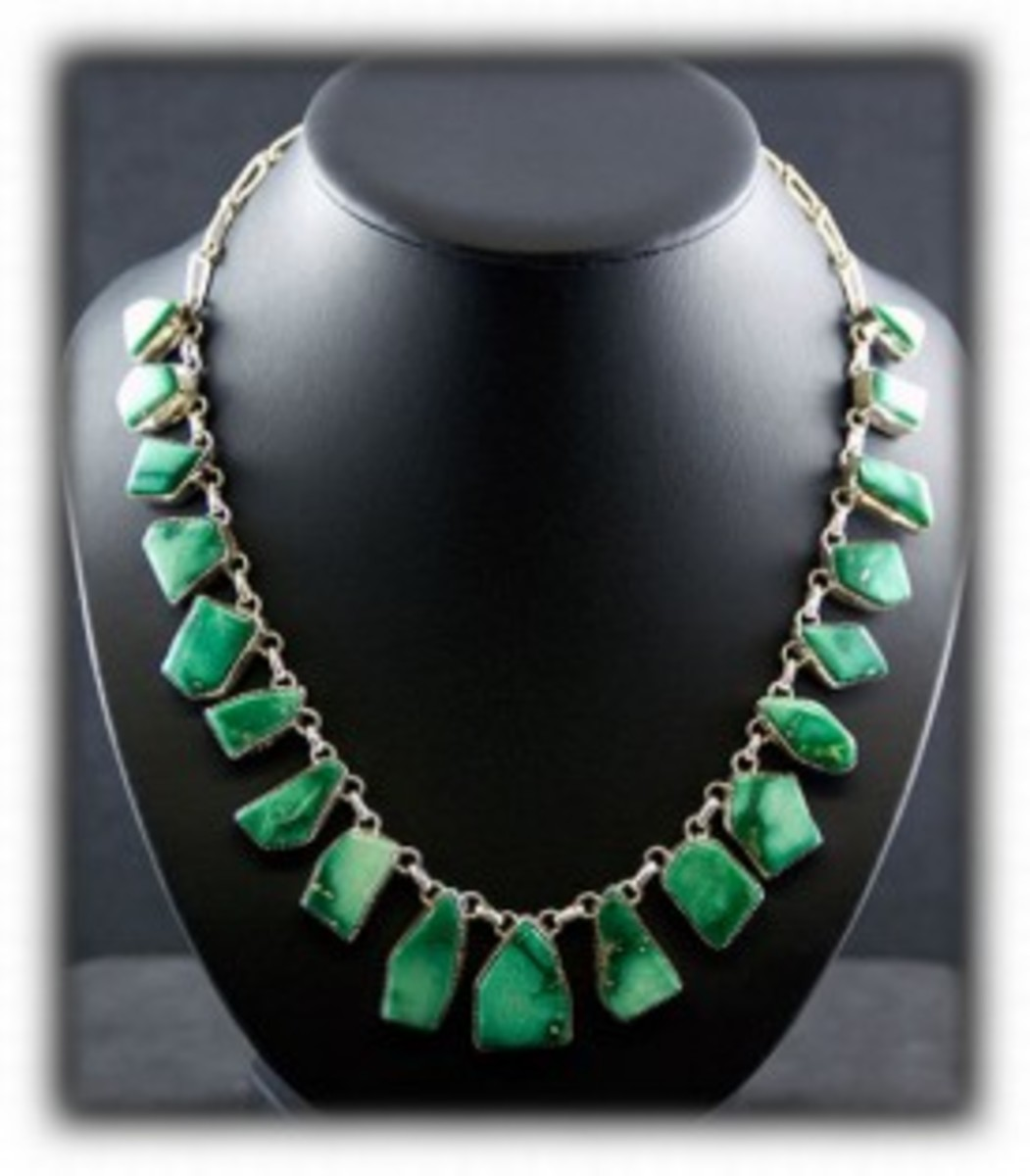 Navajo Tab Necklace made with green Nevada turquoise from the Broken Arrow Mine.