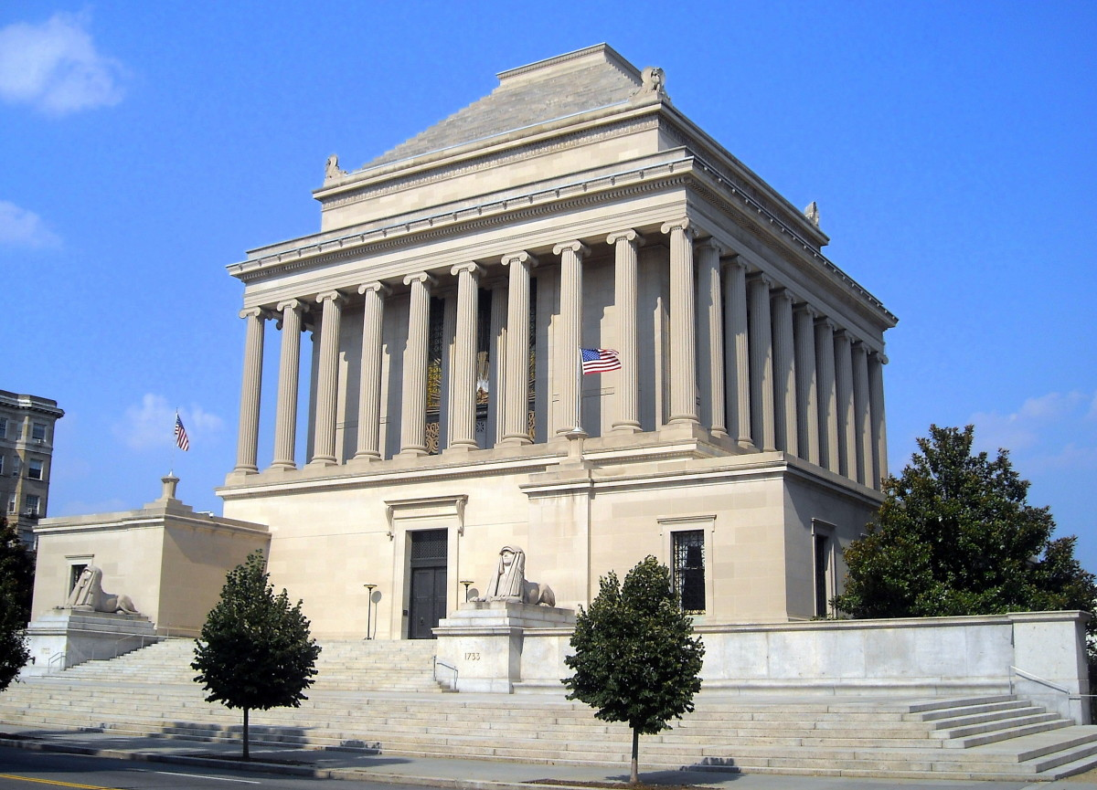 The Masonic House of the Temple of the Scottish Rite, Washington, D.C.,  by architect John Russell Pope,, was inspired by the Mausoleum at Halicarnassus.