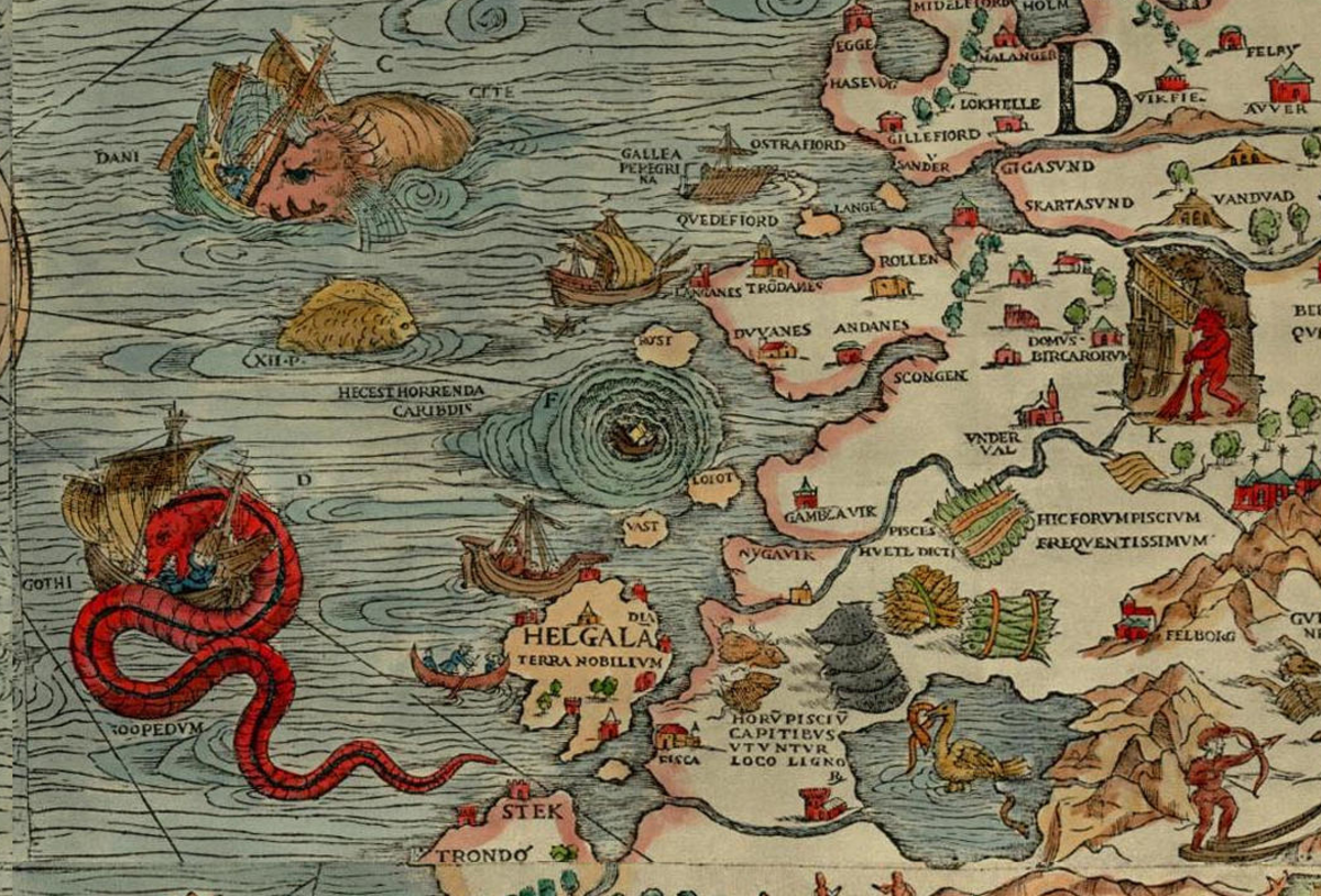 Ancient Map of the Maesltrom off Norway complete with marauding sea monsters