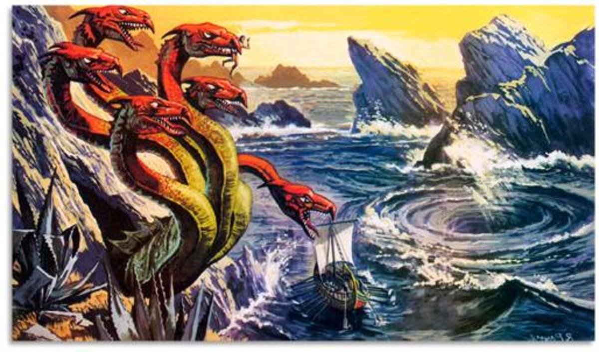 Odysseus sailing between Scylla and Charybdis