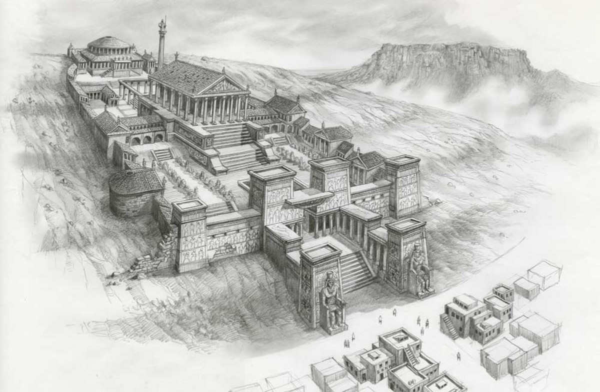 Library of Alexandria , part of the Mouseion of Alexandria, Egypt.