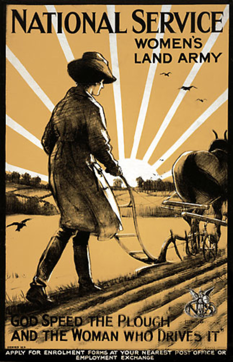 World War One recruitment poster for the Women's Land Army