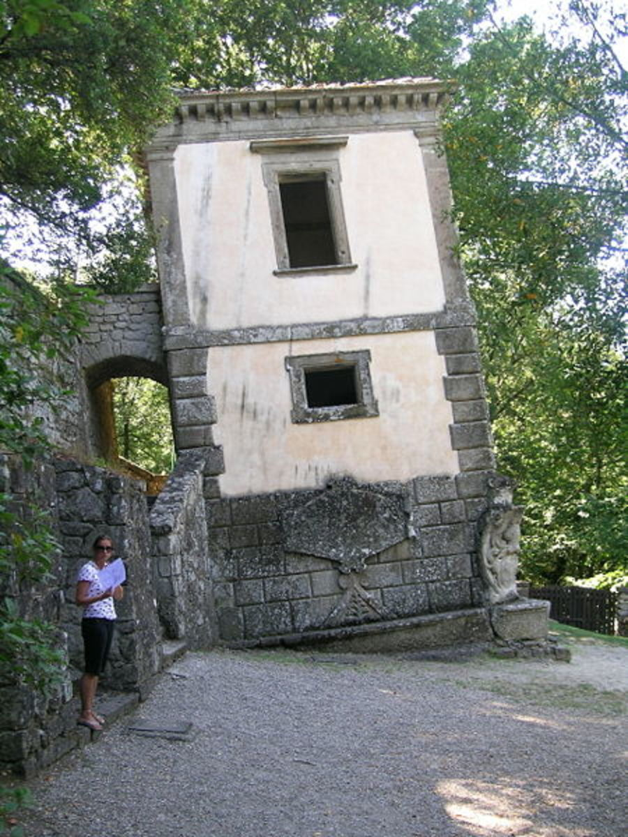 leaning house in the park of monsters, close to Bomarzo, Italy dating from 16th century