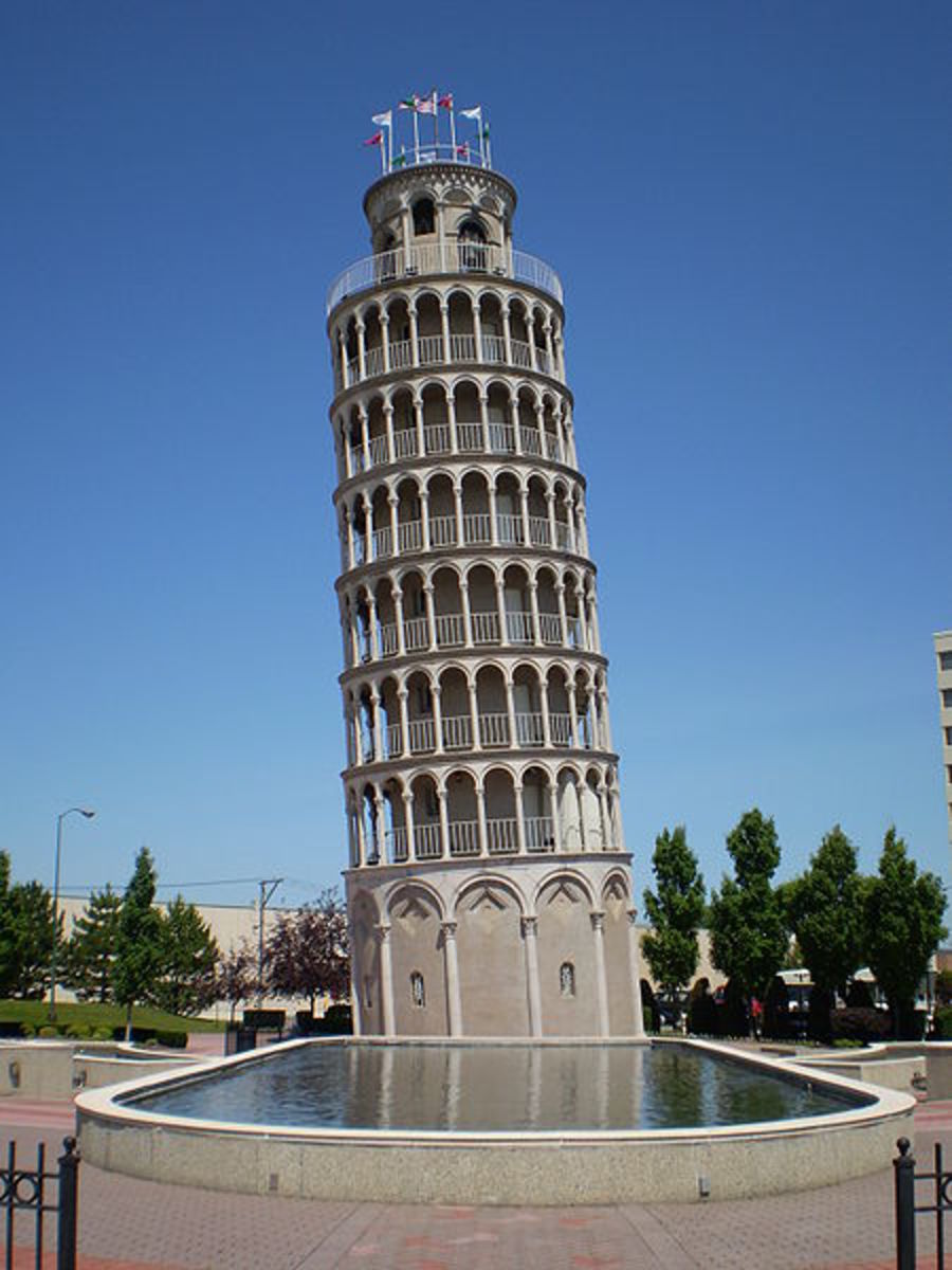 The Leaning Tower of Niles is a half-size replica of the Leaning Tower of Pisa. Located in Niles, Illinois, it was completed in 1934 by industrialist Robert Ilg as part of a recreation park for employees of the Ilg Hot Air Electric Ventilating Compan