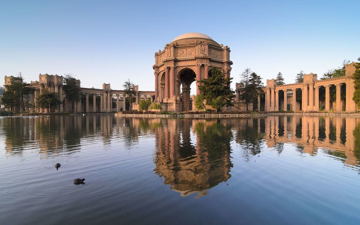 The Palace of Fine Arts in the Marina District of San Francisco, California, is a monumental structure originally constructed for the 1915 Panama-Pacific Exposition in order to exhibit works of art presented there.