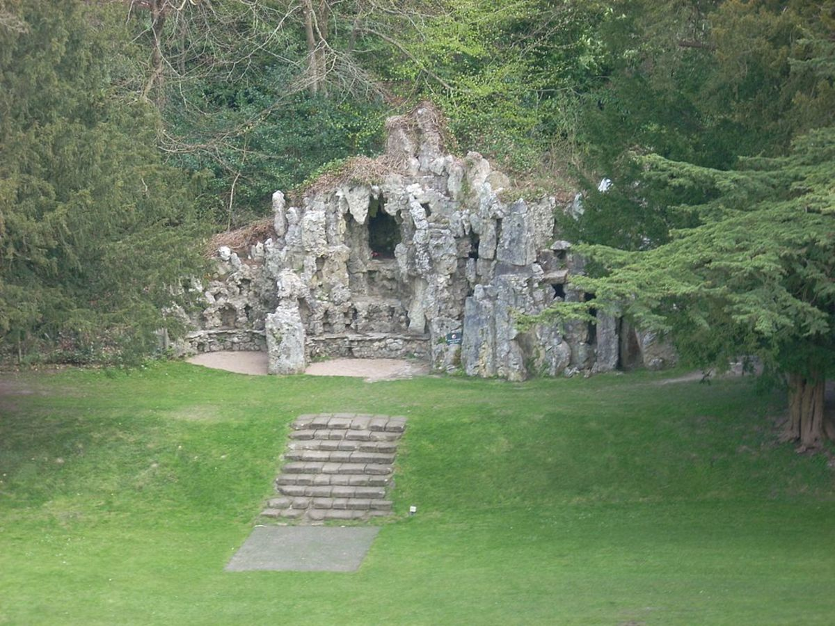 The Grotto of Old Wardour Castle was built in 1792 by Josiah Lane of Tisbury. He was commissioned to build the artificial cave, complete with dripping water, fossils and ferns from brick, plaster and stone from the ruins of the castle. The grotto als
