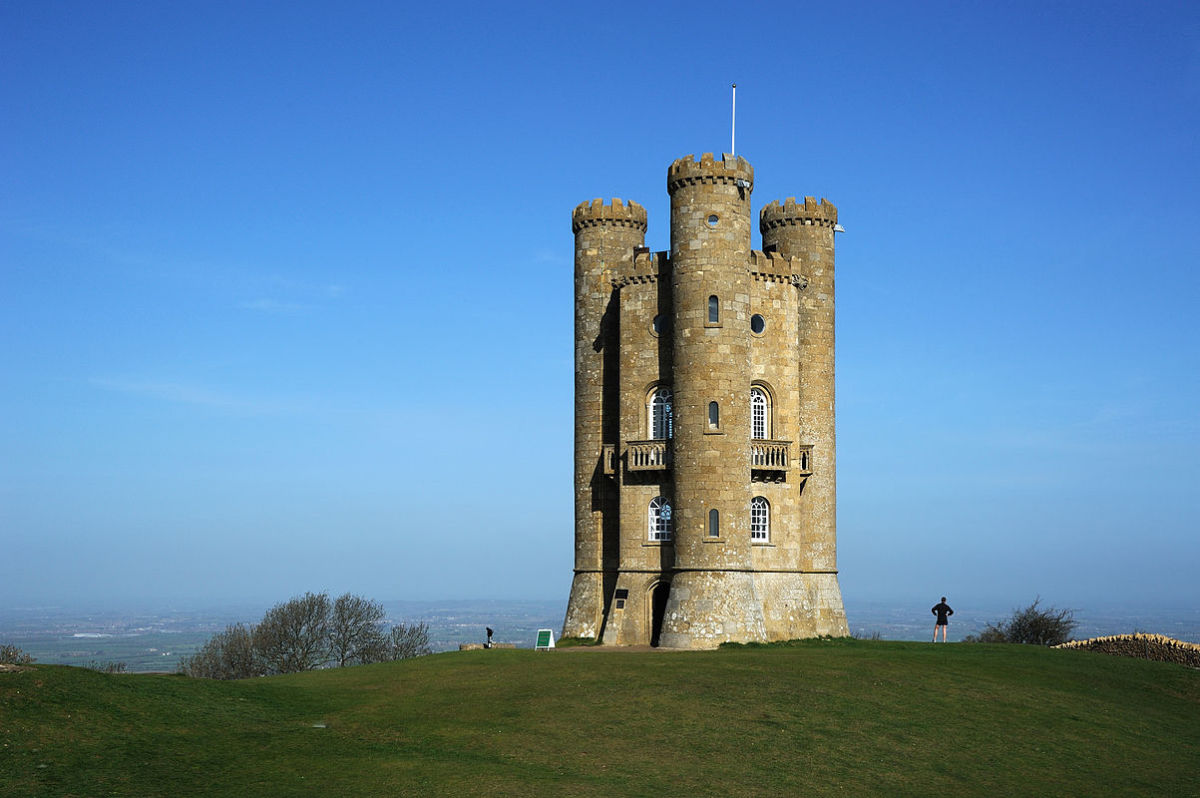 "Broadway Tower, a folly in the English county of Worcestershire. The ""Saxon"" tower was designed by James Wyatt in 1794 to resemble a mock castle, and built for Lady Coventry in 1799."