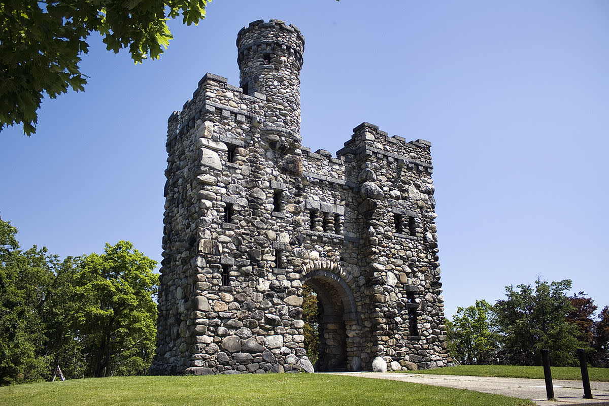 Bancroft Tower is a 56-foot-high (17 m) natural stone and granite tower, which looks like a miniature feudal castle. It is located in Salisbury Park, in the city of Worcester, Massachusetts. It was erected in 1900, in memory of George Bancroft.