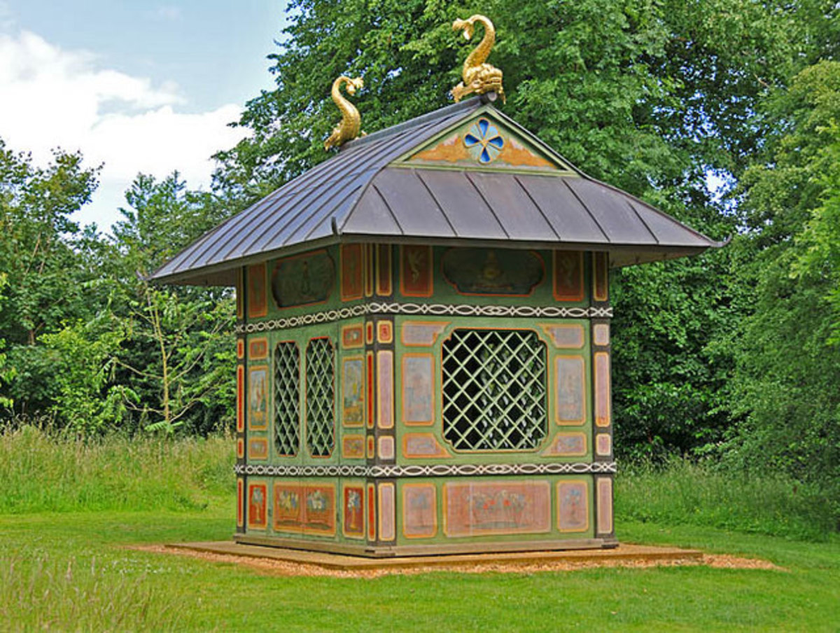 The Chinese House, Stowe Built in 1738 (probably the earliest chinese building in England), it was originally located in the Elysian Fields. It was moved from Stowe in 1750, but purchased and returned to its present location by the National Trust in