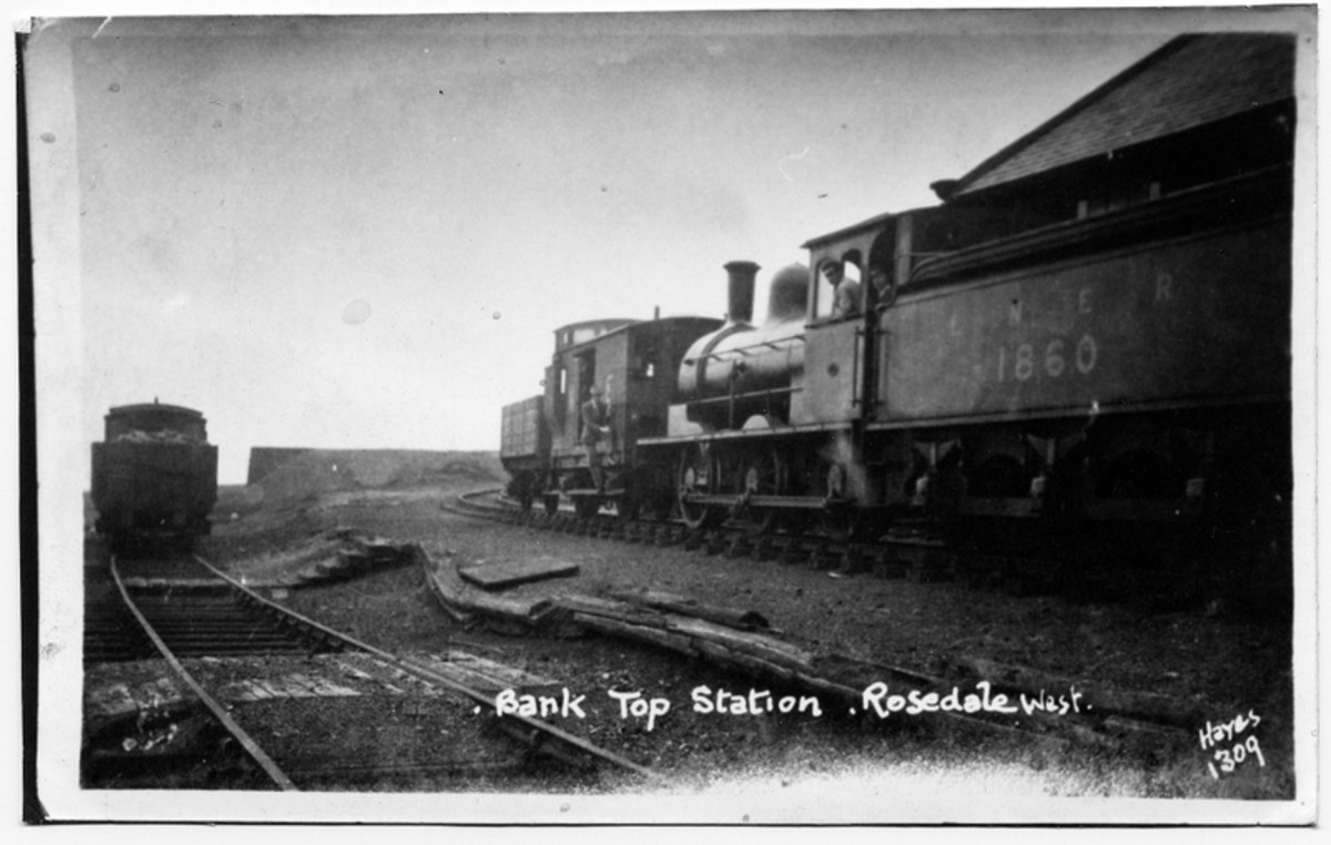 At Ingleby Bank Top one of the Class P (LNER J24) 0-6-0 tender engines rests with a 'birdcage' brake van and one wagon