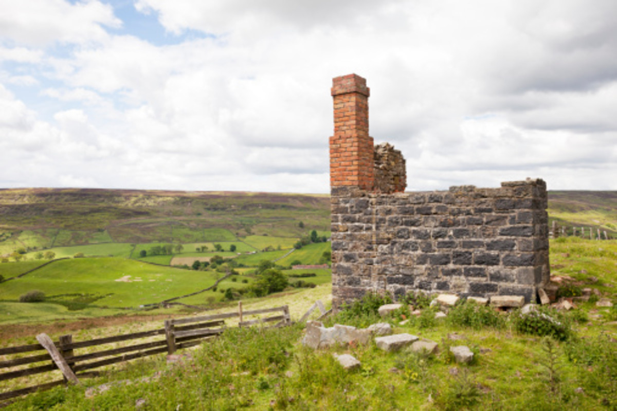 The remains of a ruined railwayman's cottage on the moor