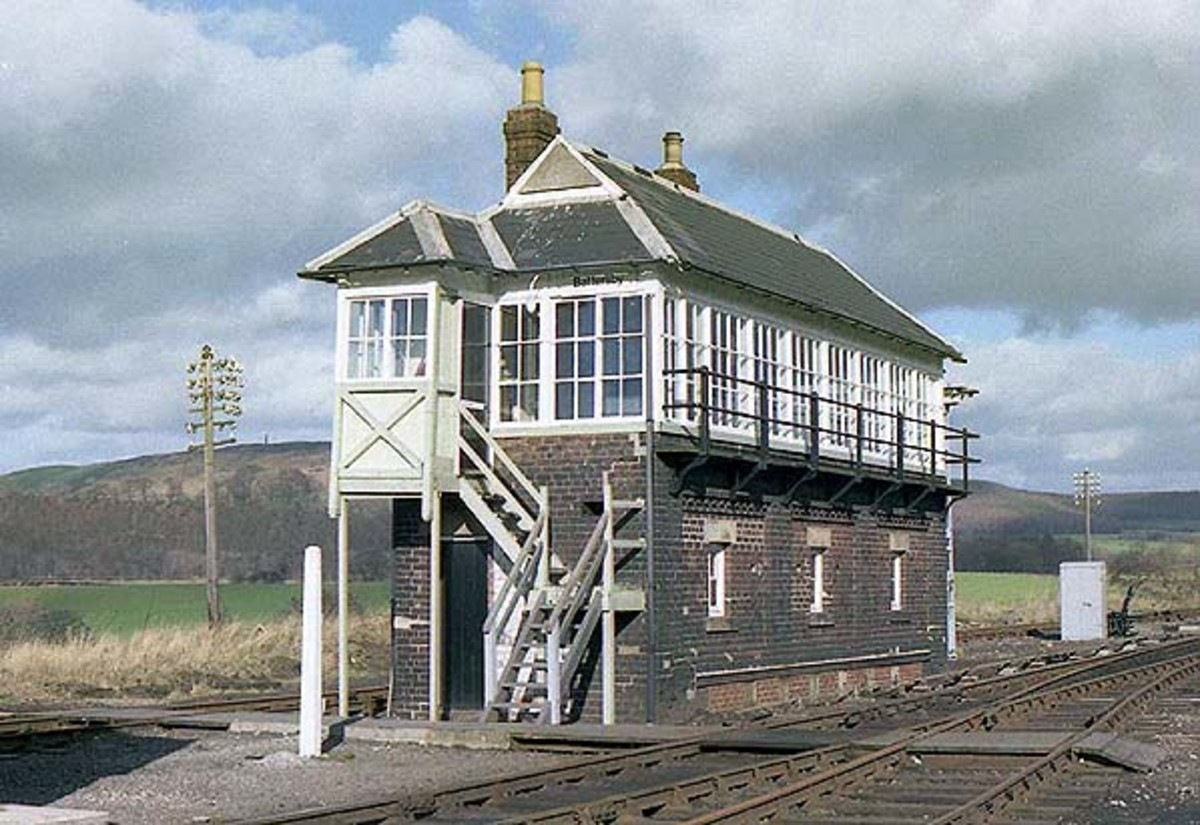 The now demolished Battersby signal cabin - in the background, top picture - newly painted at the time - with its long lever frame that once controlled signalling west towards Ingleby, north to Ayton and east to Kildale with the level crossing.