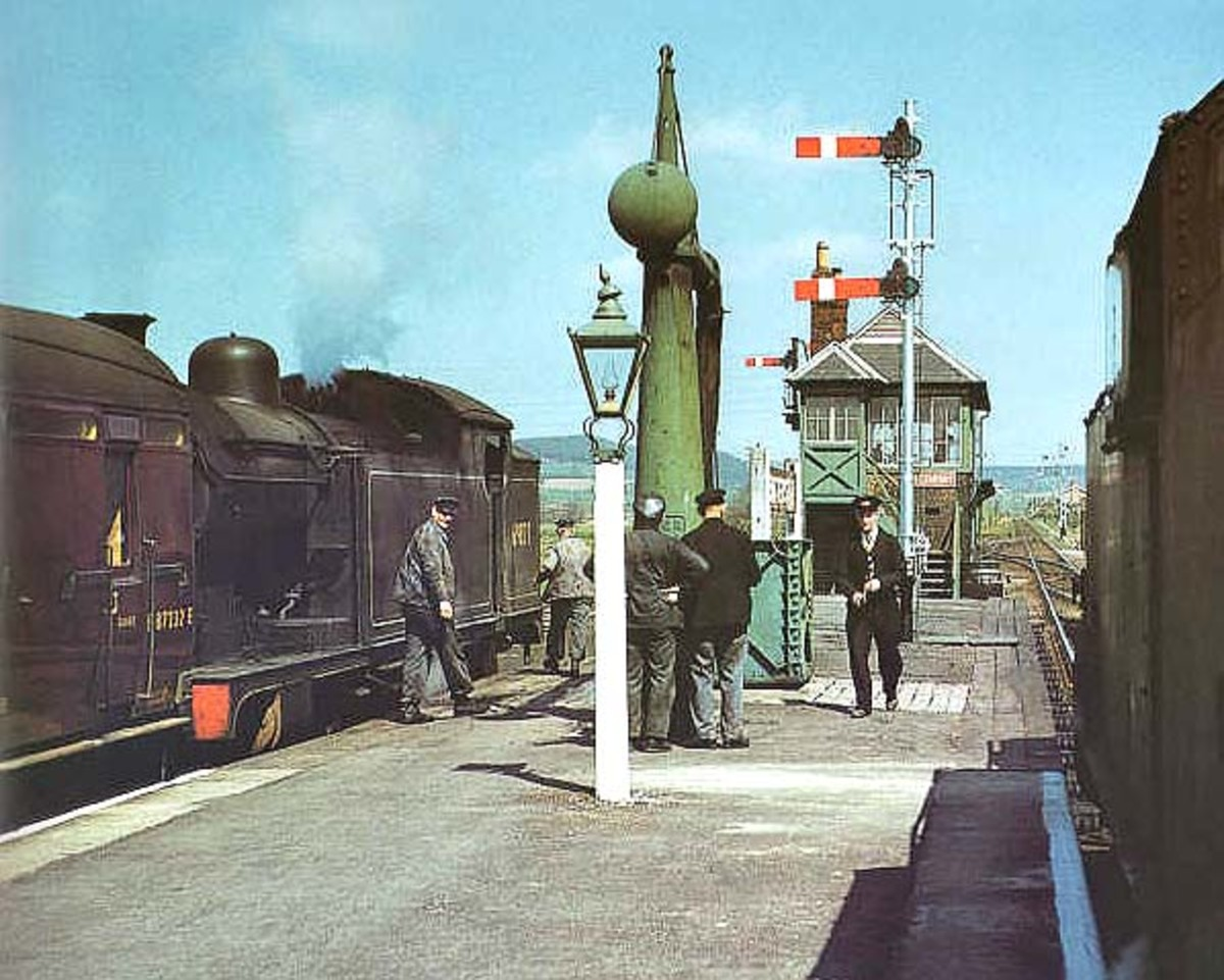 Trains cross at Battersby Station, 1958, before the introduction of diesel multiple units on the route from Middlesbrough to Whitby. in the bay for Middlesbrough, the other for Whitby, both locomotive hauled (Class A8 4-6-2 tank)