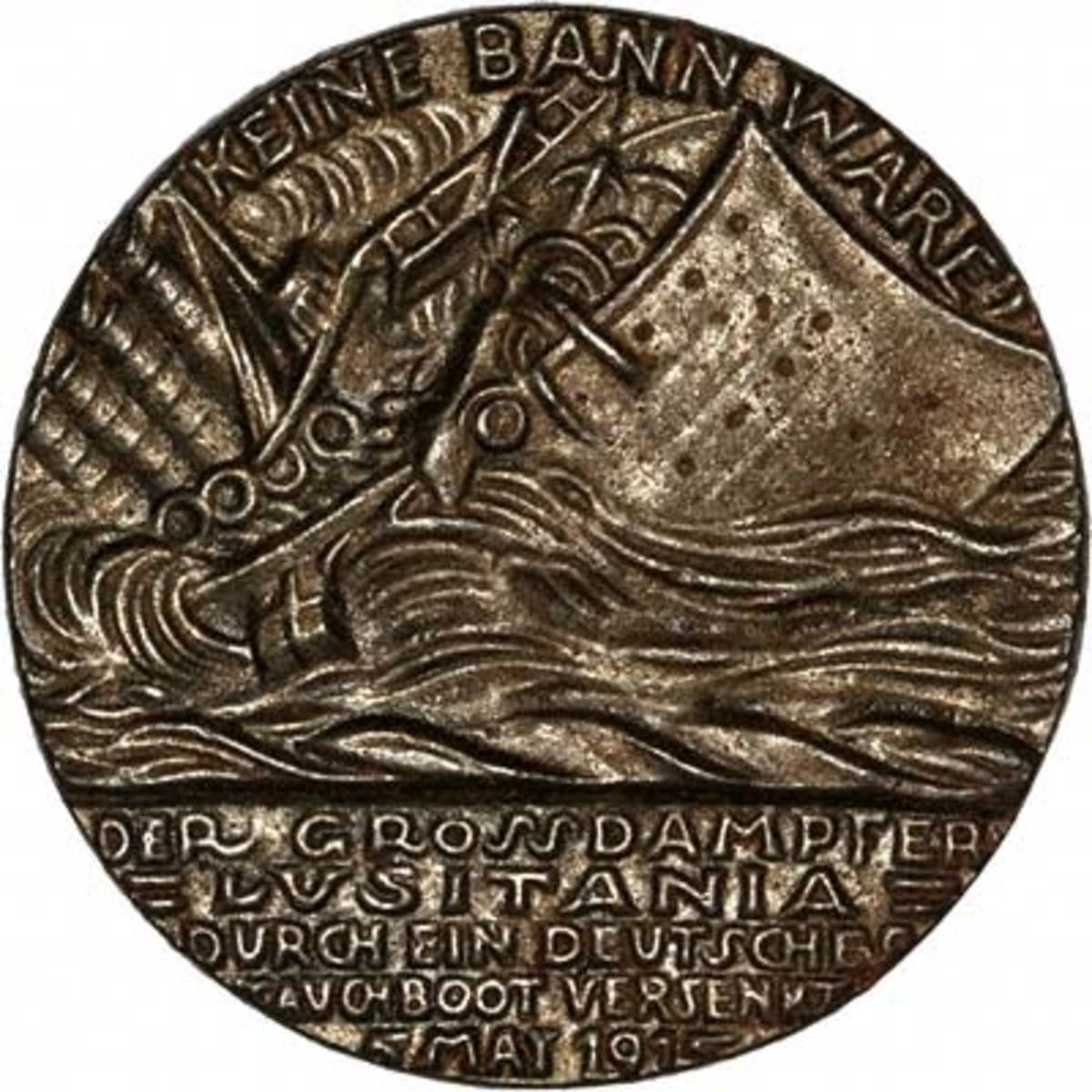 Special death head medal minted by the Germans to celebrate the sinking of the RMS Lucitania