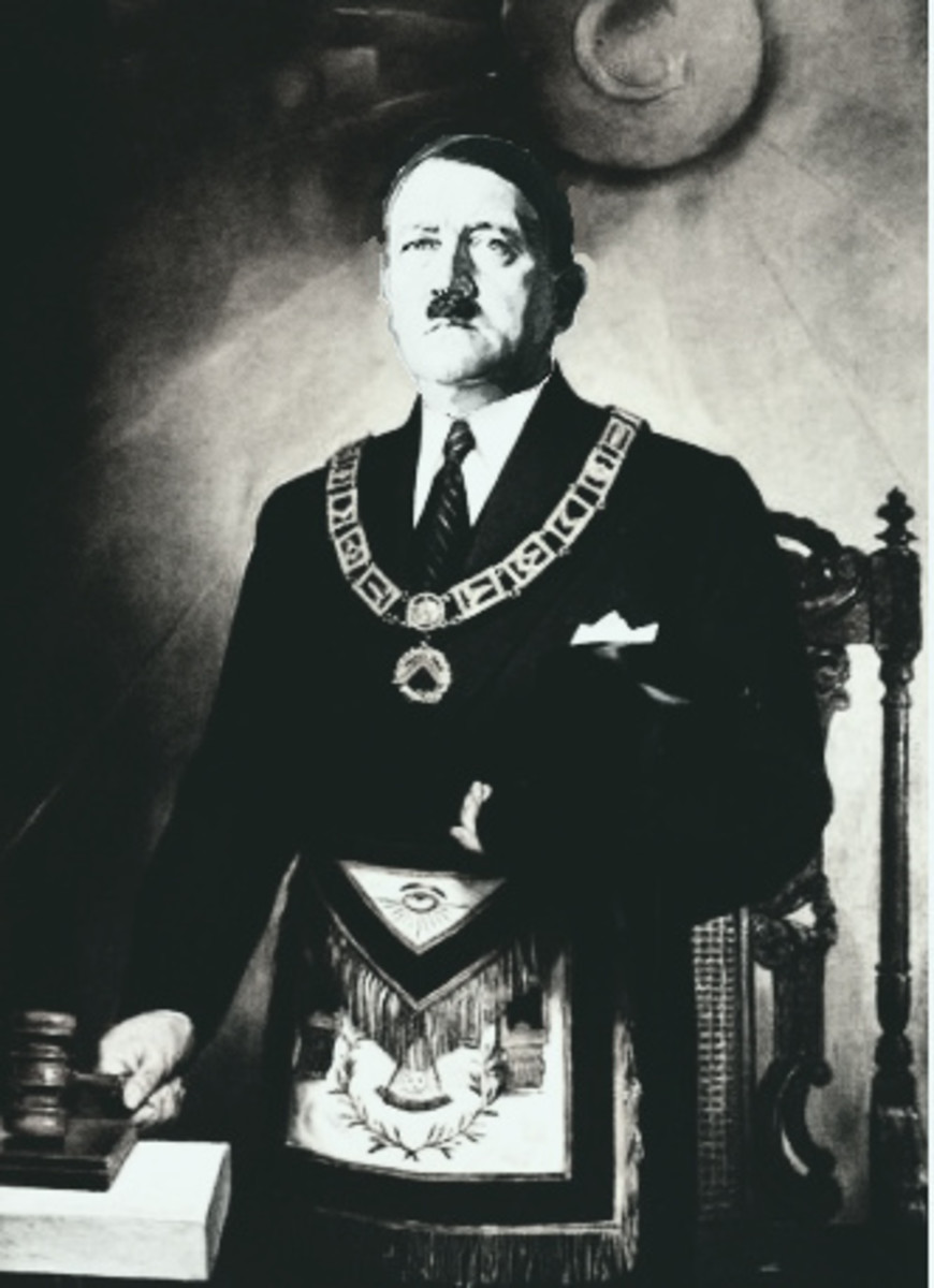 Hitler dressed in Masonic regalia. This may be fake.