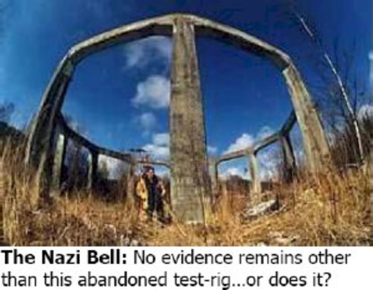 Referred to as a Nazi Bell test rig it is very similar to the flying saucer landing platform found elsewhere.