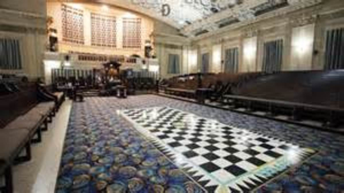 Inside a Masonic temple.