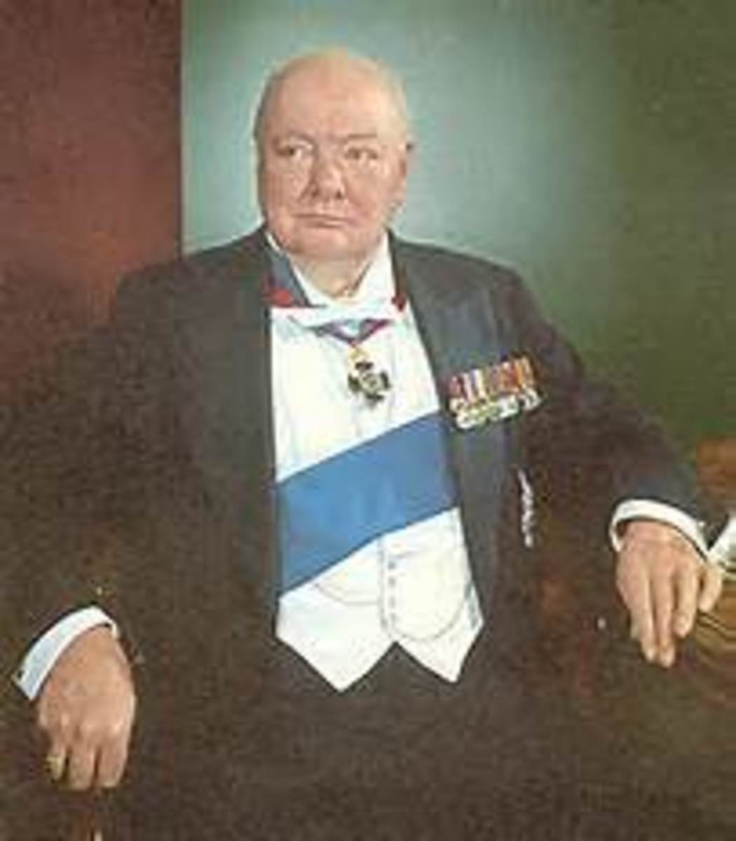 Churchill dressed in Masonic regalia