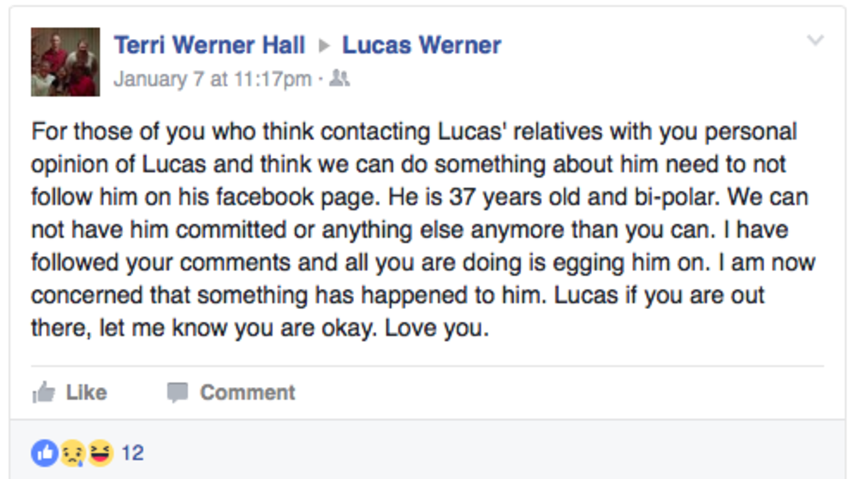 Lucas' family members express their frustration on Facebook.