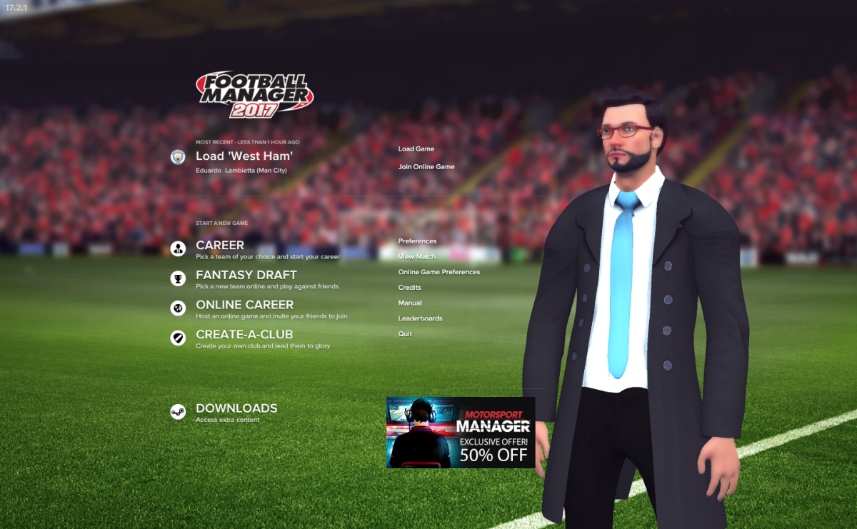Football Manager 2017 - Home Screen