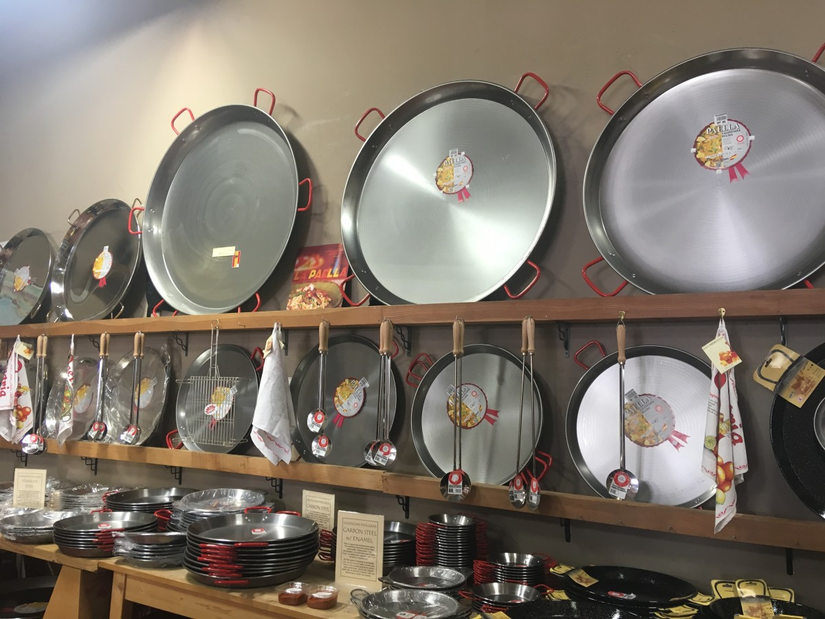 Paella pans on sale at the Spanish Table