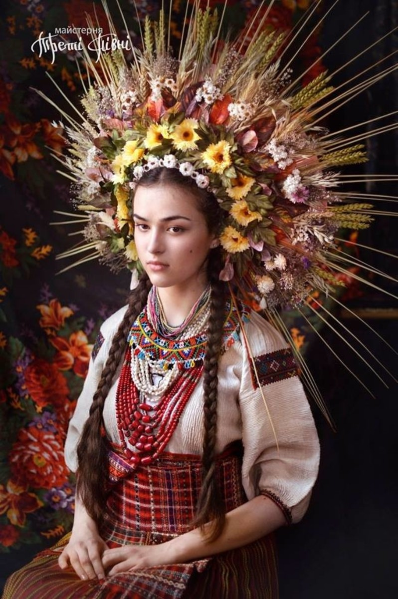 A recreation of Ukrainian wedding dress from an old surviving photo