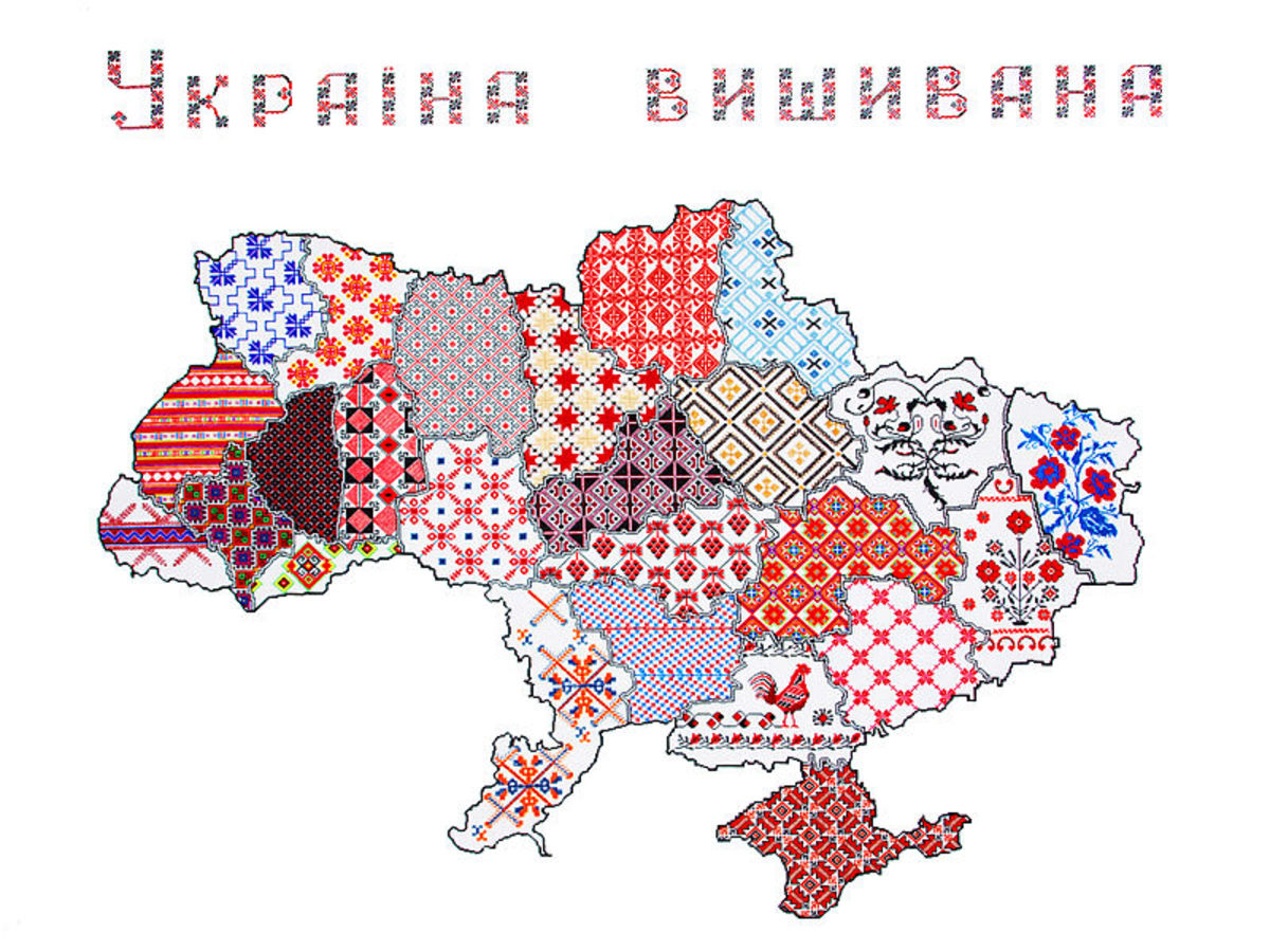 Map of Ukraine with each region's embroidery annotated