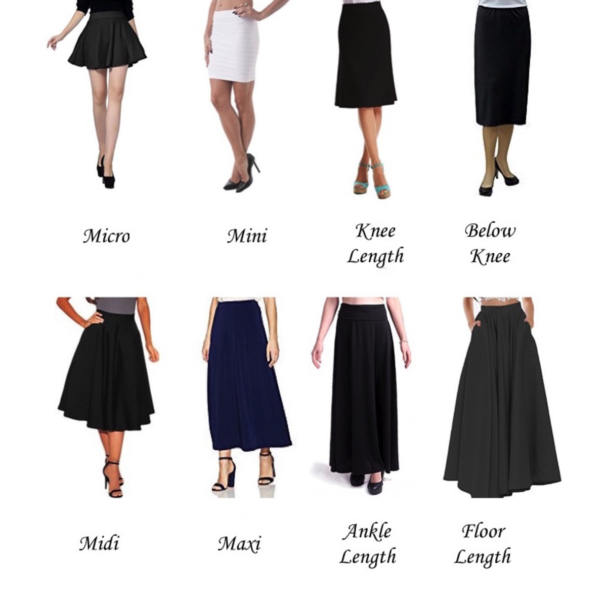 az list of types and silhouettes of skirts in fashion