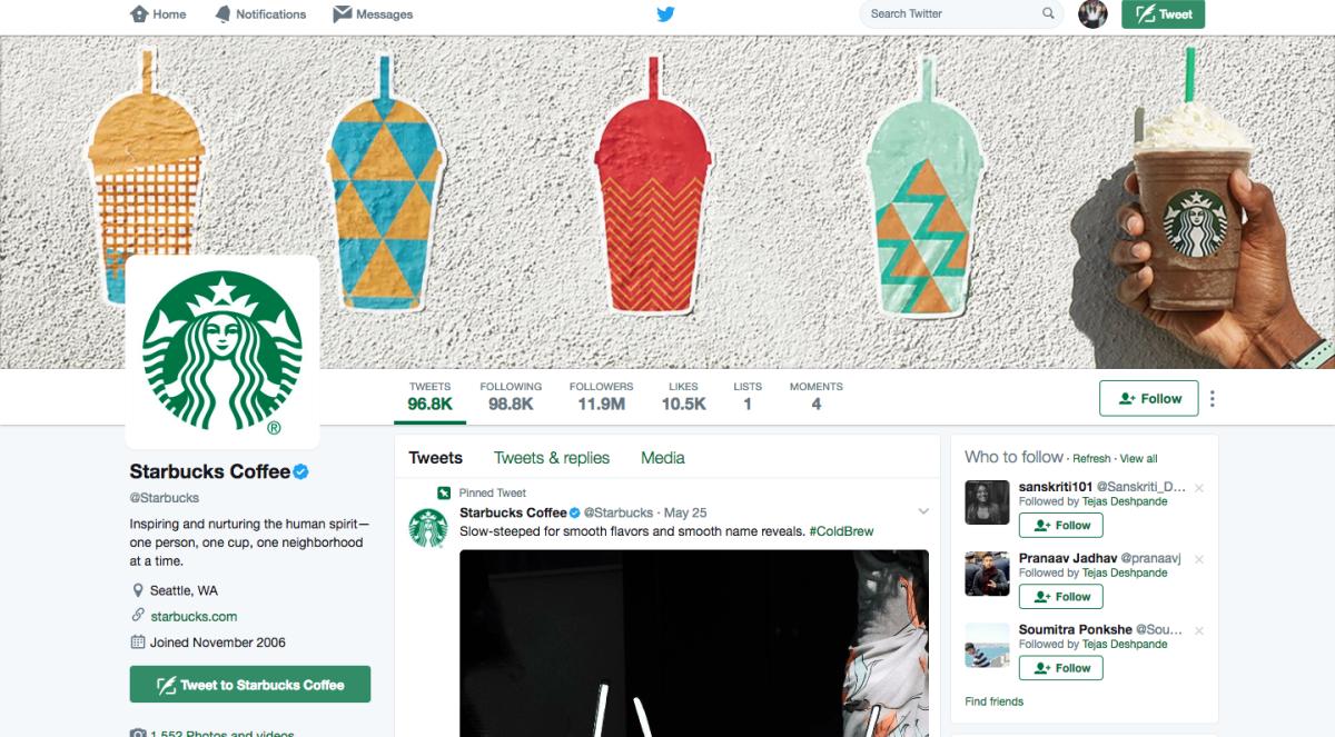 Starbucks Twitter Page