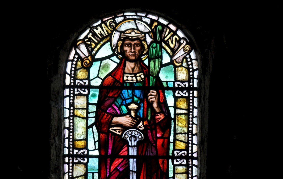 Portrait of Saint Magnus in a large stained glass window in Kirkwall Cathedral