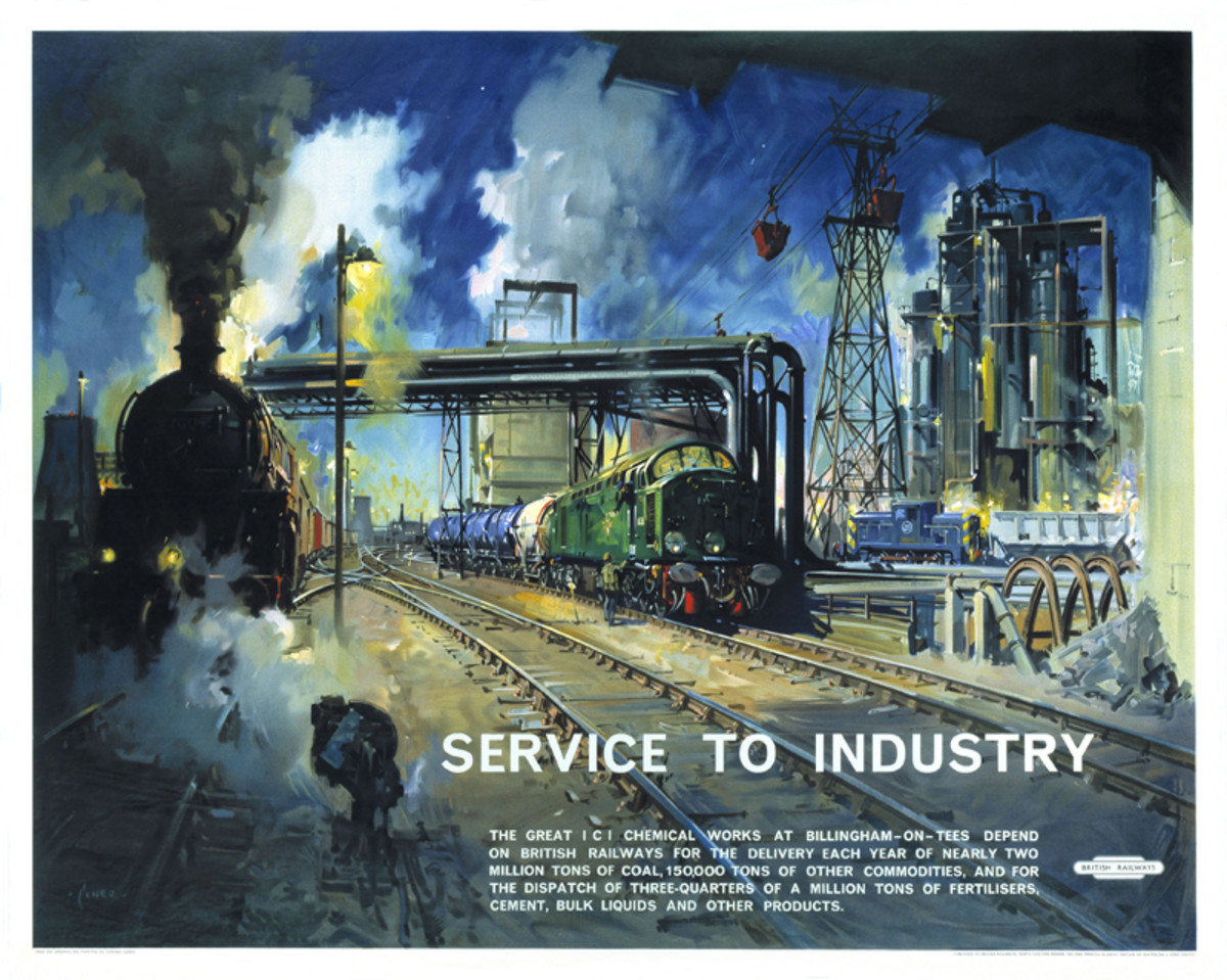 1960s Terence Cuneo painting of service to industry in the North East by the railway. Cuneo's reputation as an illustration artist has outlived him, with his mastery of light and dark (fairly Rembrandt-ish, with cool colours)