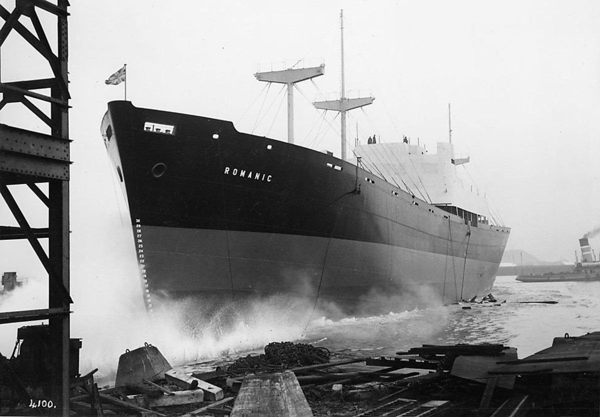'Megantic' slides down the slipway into the river from the Swan Hunter shipyard on the south bank of the Tees in 1962.