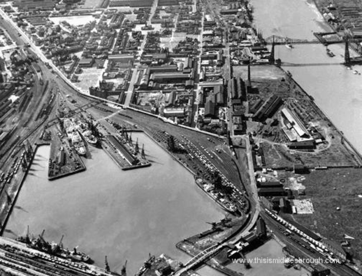 An aerial view of Middlesbrough Docks downriver of the Transporter Bridge (top right)