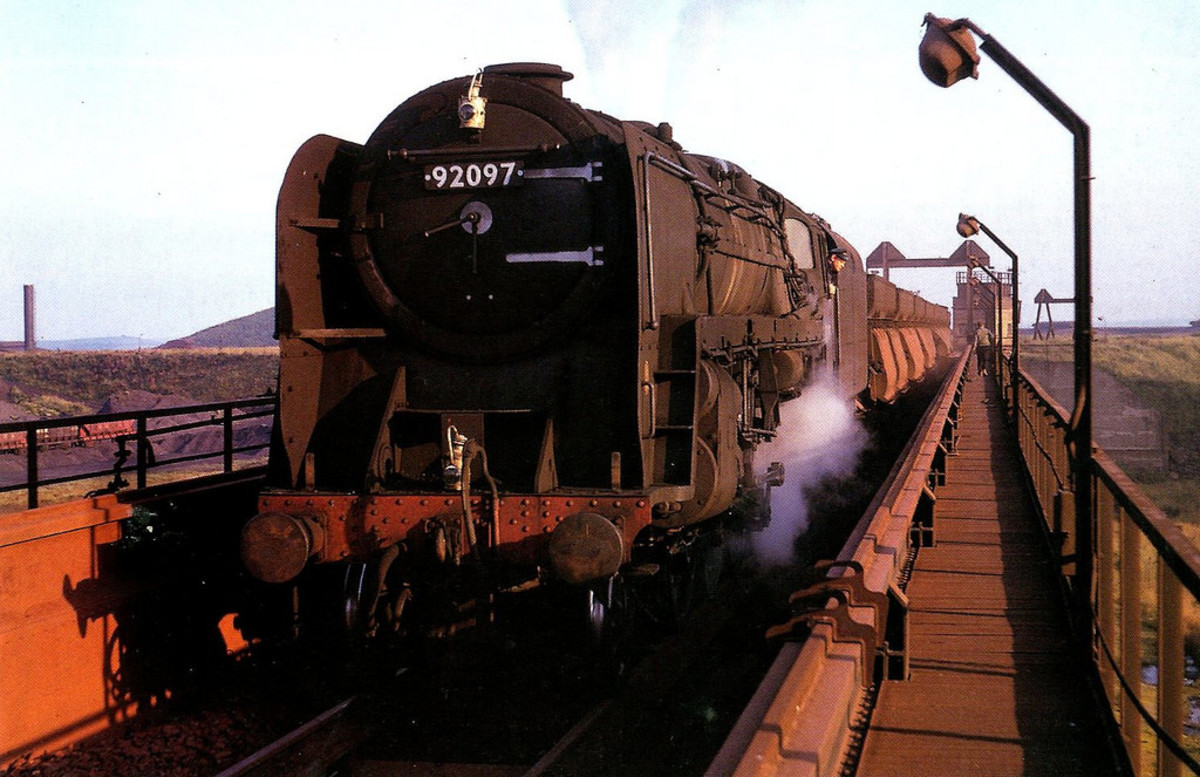 """9F 92097 has brought a train of hoppers to the unloading terminal at Consett - as the song goes, """"This could be the last time!"""""""