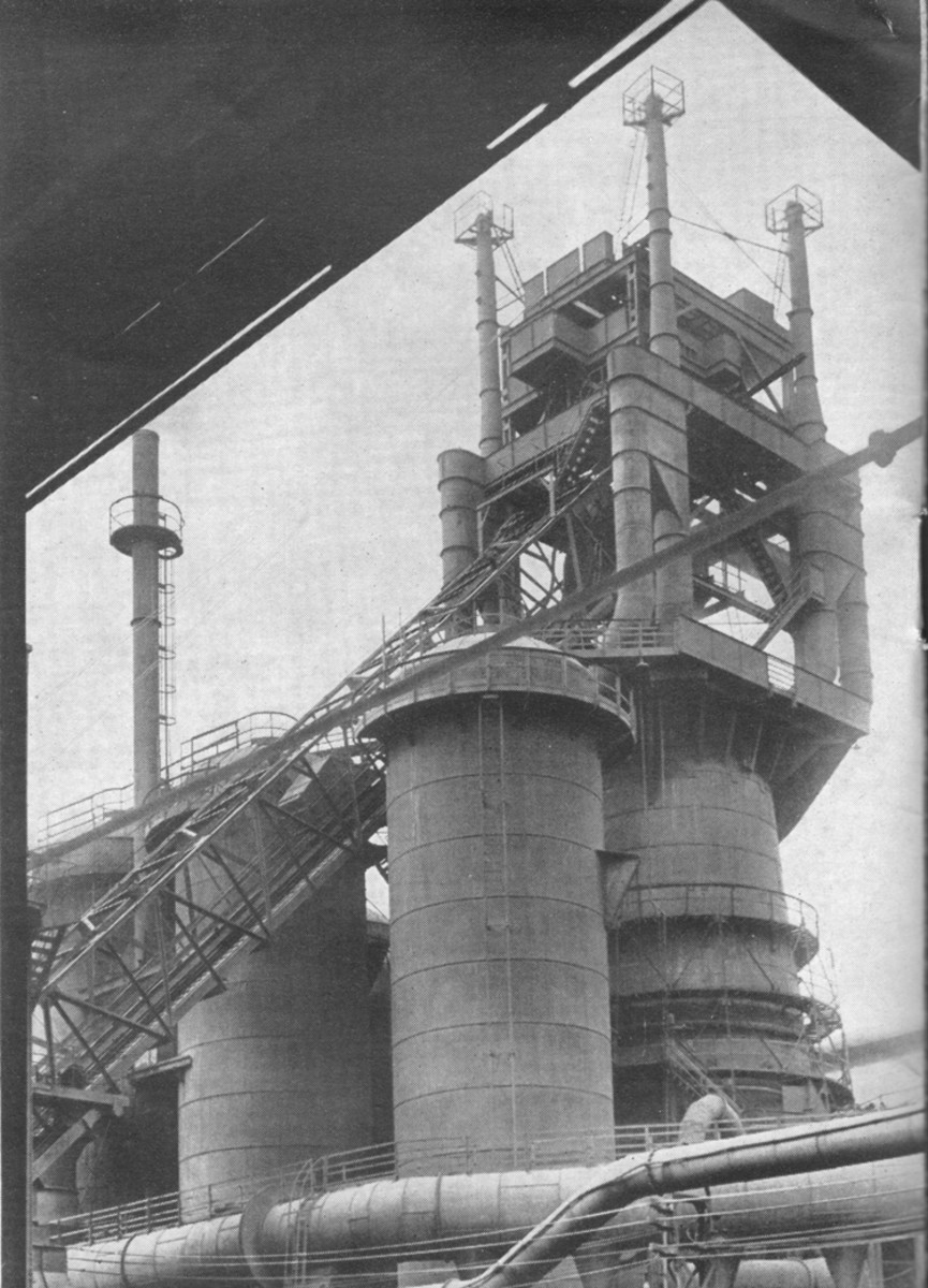 Rebuilt Bessemer furnace, 1947, months before the LNER became BR/NE. Not that it made much difference in deliveries of raw materials. With peace restored higher grade ores would arrive at Teesport as locally mined stocks waned.
