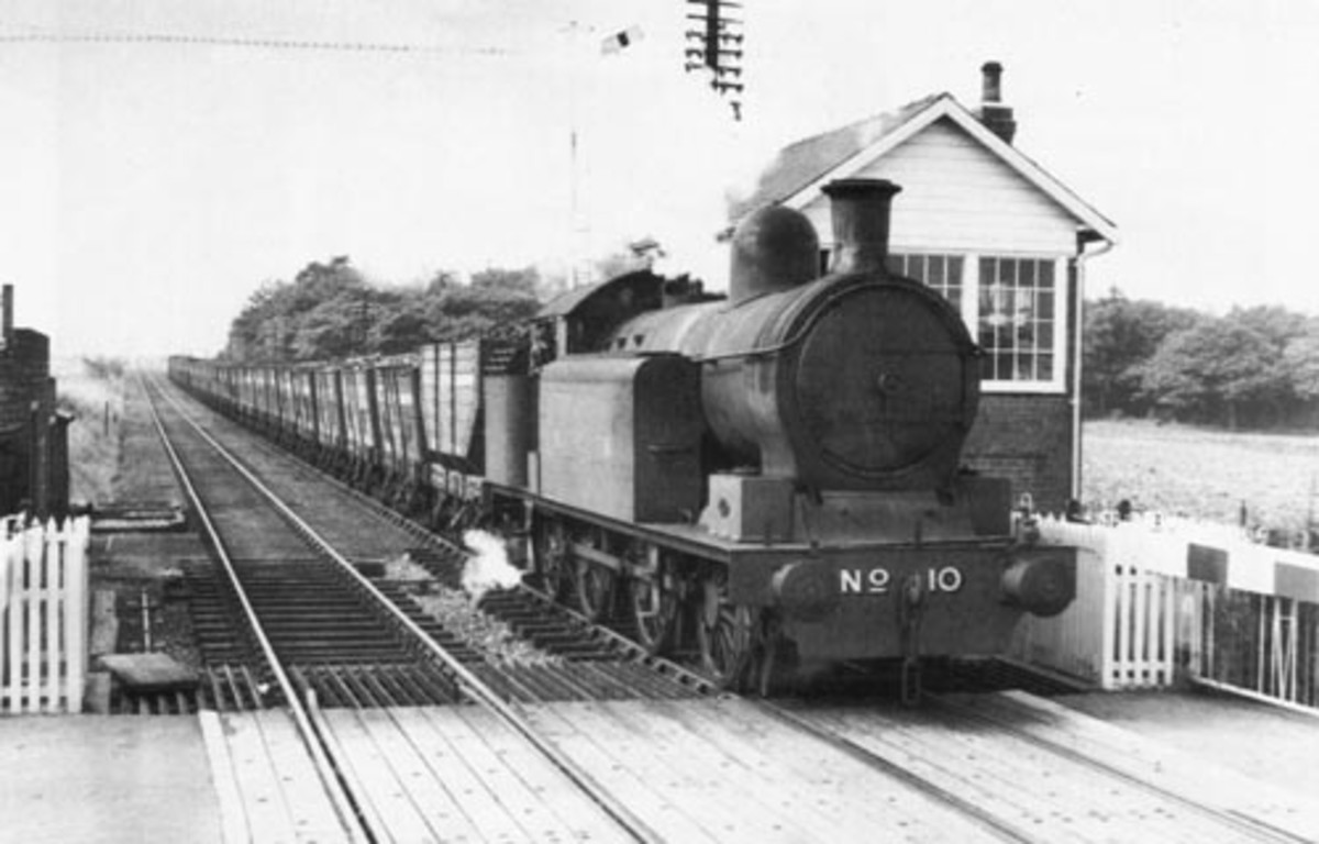 Lambton tank locomotive (0-6-2) No. 10 passes through Cox Green - west of Sunderland - with coal for export