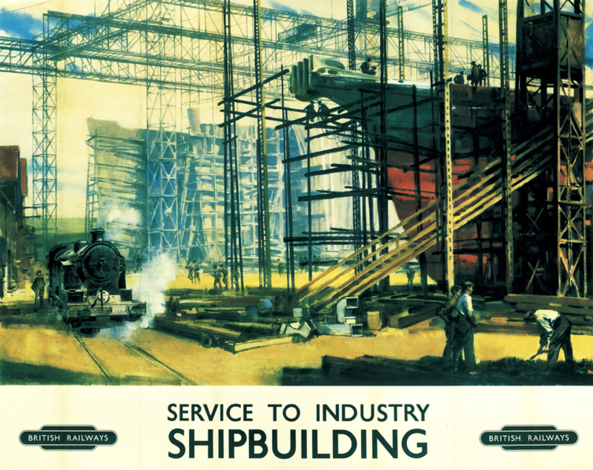 One of a series of well-known artists' work, a Norman Hepple painting helped advertise North Eastern shipbuilding