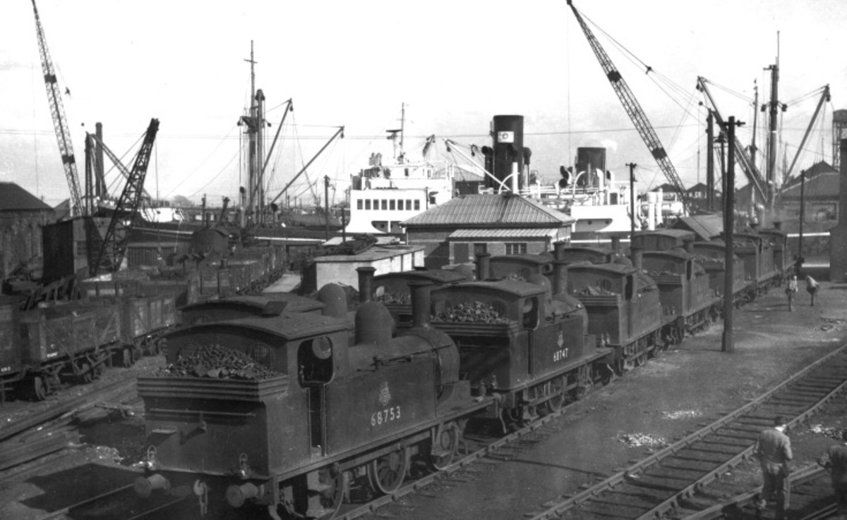 Alexandra Dock, Hull, 1950s, a line of small dock tank shunters is ready to move wagons for loading and unloading - built for the Hull & Barnsley Railway, this dock was equipped for transferring coal from wagon to ship for export (see below)
