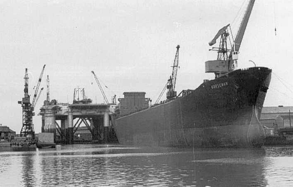'Norseman' awaits fitting out after launch from the north bank of the Tees at Furness Withy, Haverton Hill near Stockton-ob-Tees