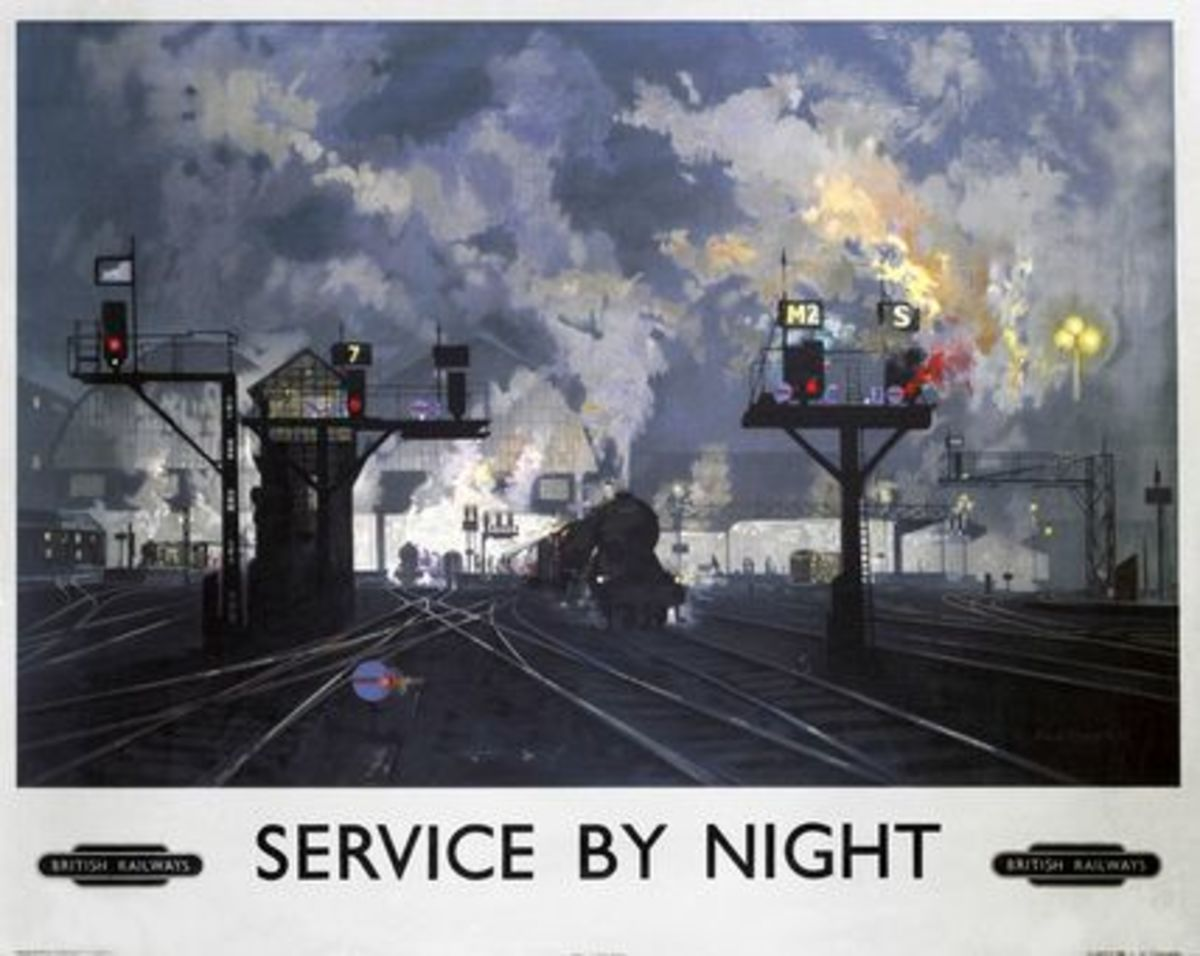 David Shepherd was another artist sought for poster work to advertise the railways' services. 'Service by Night' could equally apply to freight traffic to or from Hull on the main line
