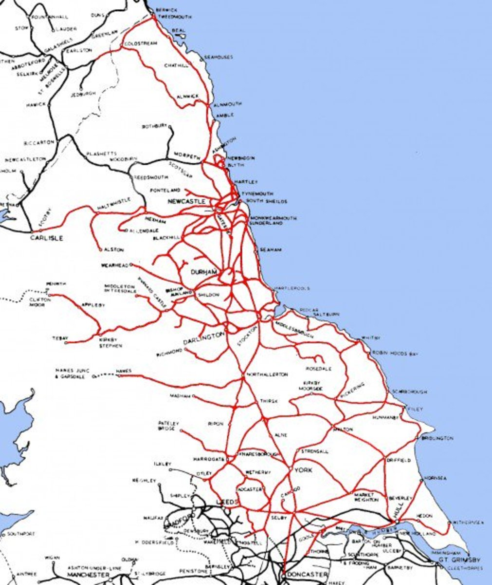 The network ran over in places into neighbouring regions' territories, some of the long 'fingers' have survived such as the Newcastle & Carlisle Railway as well as to Leeds City Station - shared with the Midland Region until privatisation in the 1990