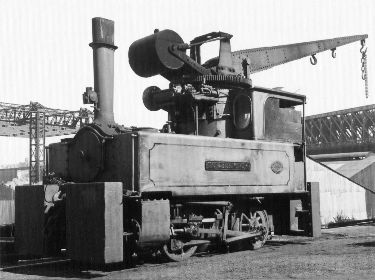 One of several at the Doxford Yard on the River Wear at Sunderland, a Doxford Crane Tank Loco at rest between tasks. These could be seen from the main line - one has been preserved at Beamish Open Air Museum