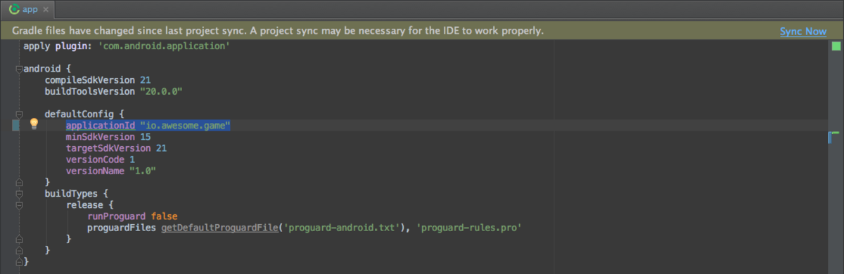 Rename package name into build.gradle