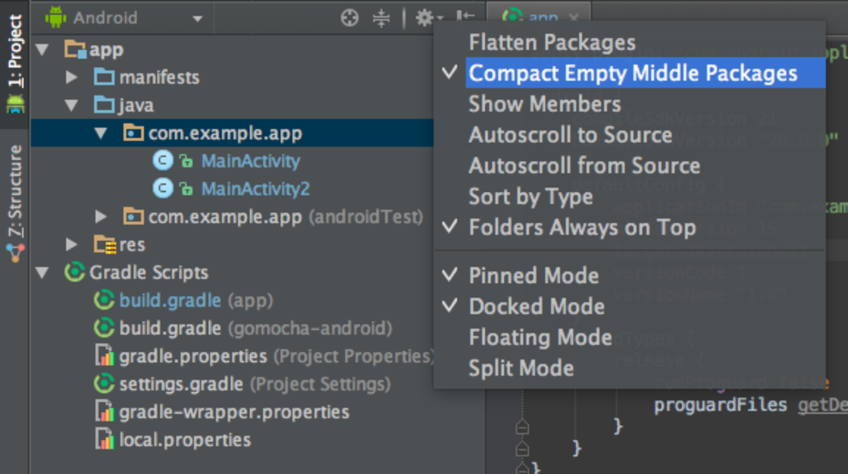 The Android Studio Project panel